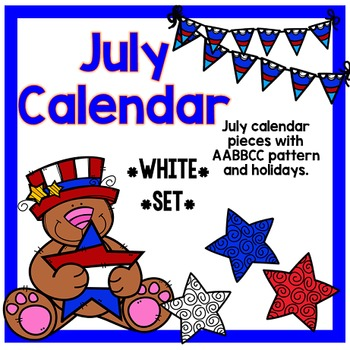 July Calendar Pieces - White Set