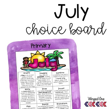 July Early Finishers: Choice Board