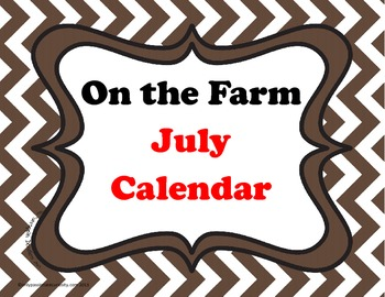 July Farm Themed Pocket Chart Calender Cards