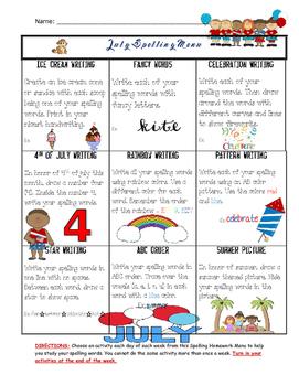 July Spelling Menu