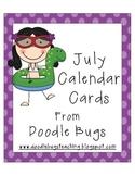 July / Summer Calendar Cards * FREE *