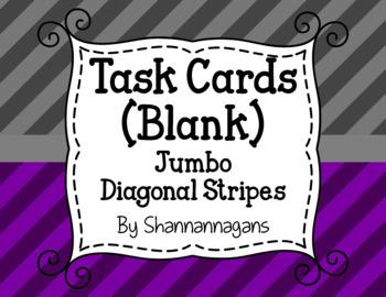 Jumbo Diagonal Stripe Blank Task Cards (Basic Colors)