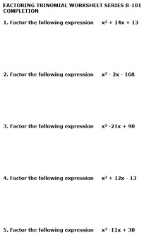 Jumbo Pack - 100 Totally Unique Factoring Trinomial Worksheets