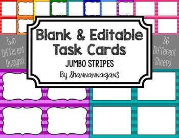 Jumbo Stripe Blank Task Cards (Basic Colors)