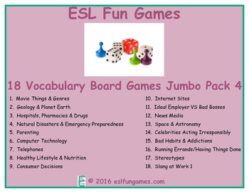 Jumbo Vocabulary Board Game Pack 4 Game Bundle