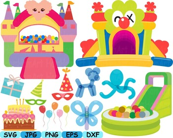 Jumping Castle Balloons SVG bounce house clip art animals