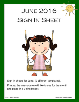 June 2016 Sign In Sheets