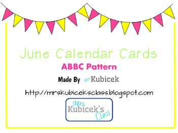 June Calendar Cards ABBC pattern