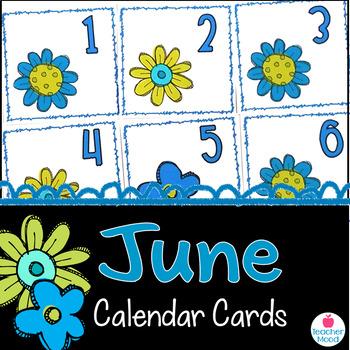 June Calendar Cards {summer flower} {Morning Math} Number Corner