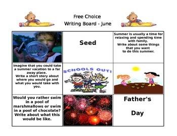 June Free Choice Writing Board