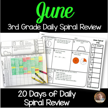 June Math Spiral Review: Daily Math for 3rd Grade (Print and Go)