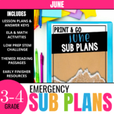 No Prep June Sub Plans for 3rd Grade & 4th Grade