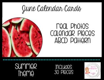 June Summer Calendar Cards-Real Photos