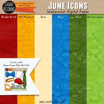 June Watercolor Digital Papers