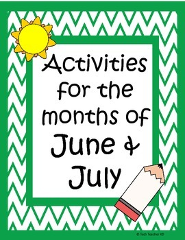 June/July Packet - Fun End of Year Activities