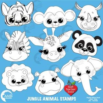 Clipart Stamps, Jungle Animal Digital Stamps, Outlines Bla