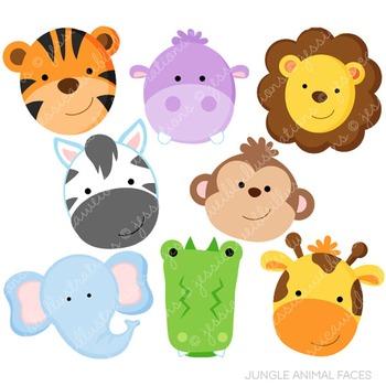 Jungle Animal Faces Cute Digital Clipart, Jungle Clip Art