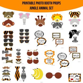 Jungle Animal Printable Photo Booth Prop Set