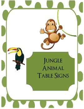 Jungle Table Signs