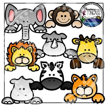 Jungle Animal Page Toppers Clipart Bundle