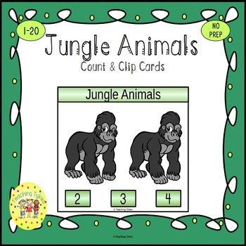 Jungle Animals Count and Clip Task Cards