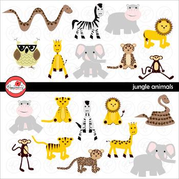 Jungle Animals Digital Clipart by Poppydreamz