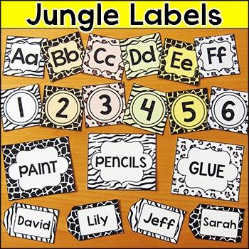 Jungle Theme Labels - Wild Animals Theme