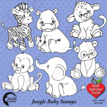 Clipart Stamps, Jungle Baby Animals Blackline, AMB-138