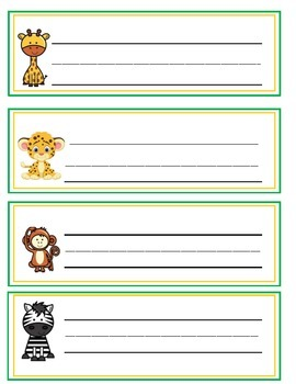 Jungle Themed Name Tags