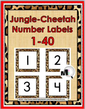 Jungle Theme with Cheetah Design Number Labels 1 - 40