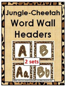 Jungle Theme with Cheetah Design Alphabet Word Wall Header
