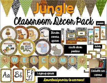 Jungle: Classroom Decor Pack: Bundle: Editable