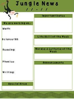 Classroom Newsletter - Jungle Theme
