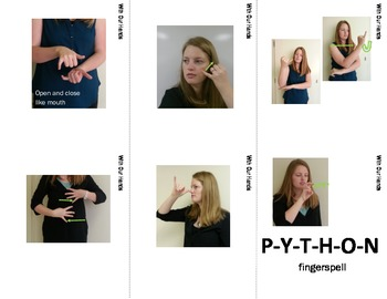 Jungle Desert Forest Sign Language (ASL) Flash Cards with