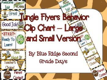Jungle Flyers Behavior Clip Chart - 2 Different Versions (