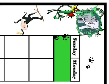 Jungle Calendar Set! Jungle Bulletin Board! Jungle Theme!