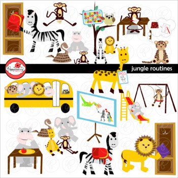 Jungle Routines Digital Class Routine Clipart by Poppydreamz