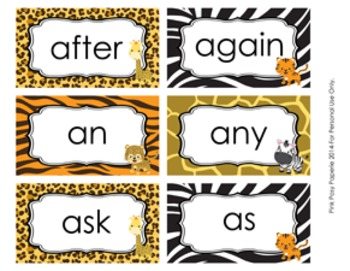 Jungle Safari 1st Grade Dolch Sight Wall Words