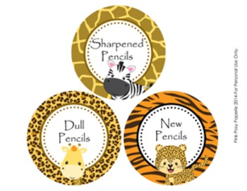 Jungle Safari Animals Pencil Caddy Labels