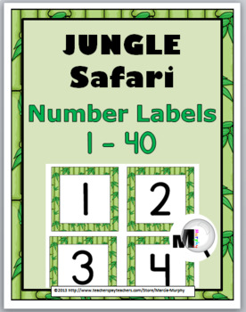 Jungle Safari Theme Number Labels 1 - 40 with Primary Font