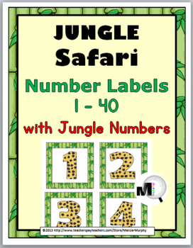 Jungle Safari Themed Number Labels 1 – 40 with Jungle Numbers