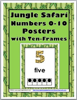 Jungle Safari Themed Numbers 1-10 Number Posters with Ten Frames