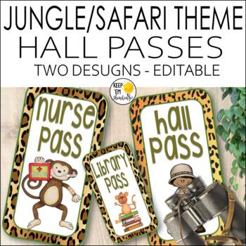 Jungle Theme Hall Passes - Jungle Theme Classroom Decor