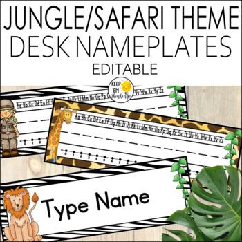 Jungle Theme Name Plates Editable!