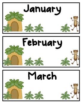Jungle Safari Themed Month Posters