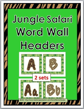 Jungle Safari Theme Alphabet Letters Word Wall Headers - A