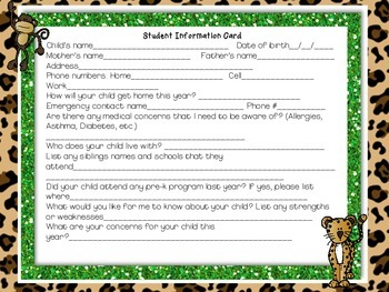 Jungle Student Information Card