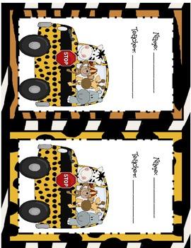 Jungle Take Home Folder Cover Labels
