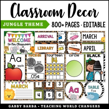 In the Jungle Classroom Decor Bundle {500+ pages!}