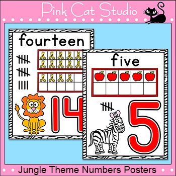 Jungle Theme Numbers Posters